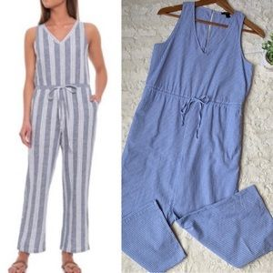 Anthropologie Drew blue/white striped jumpsuit